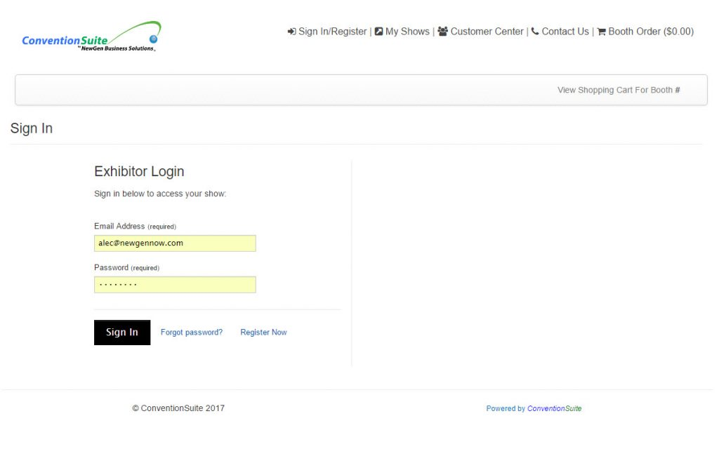 conventionsuite-login-page