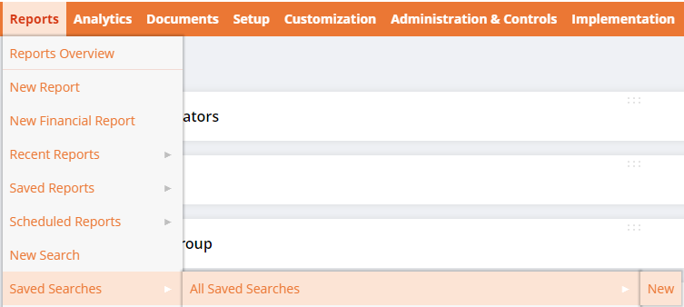 Create new saved search